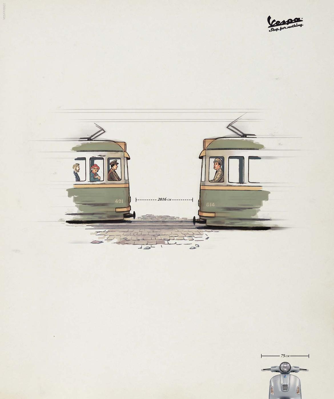 Vespa Print Ad -  Tram