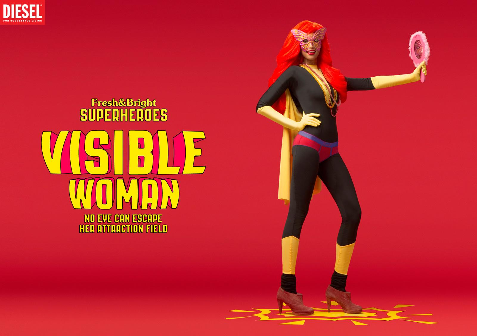 Diesel Print Ad -  Fresh & Bright Superheroes, Visible woman