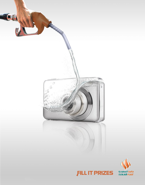 Saudi Fuel Print Ad -  Fill it Prizes, Camera