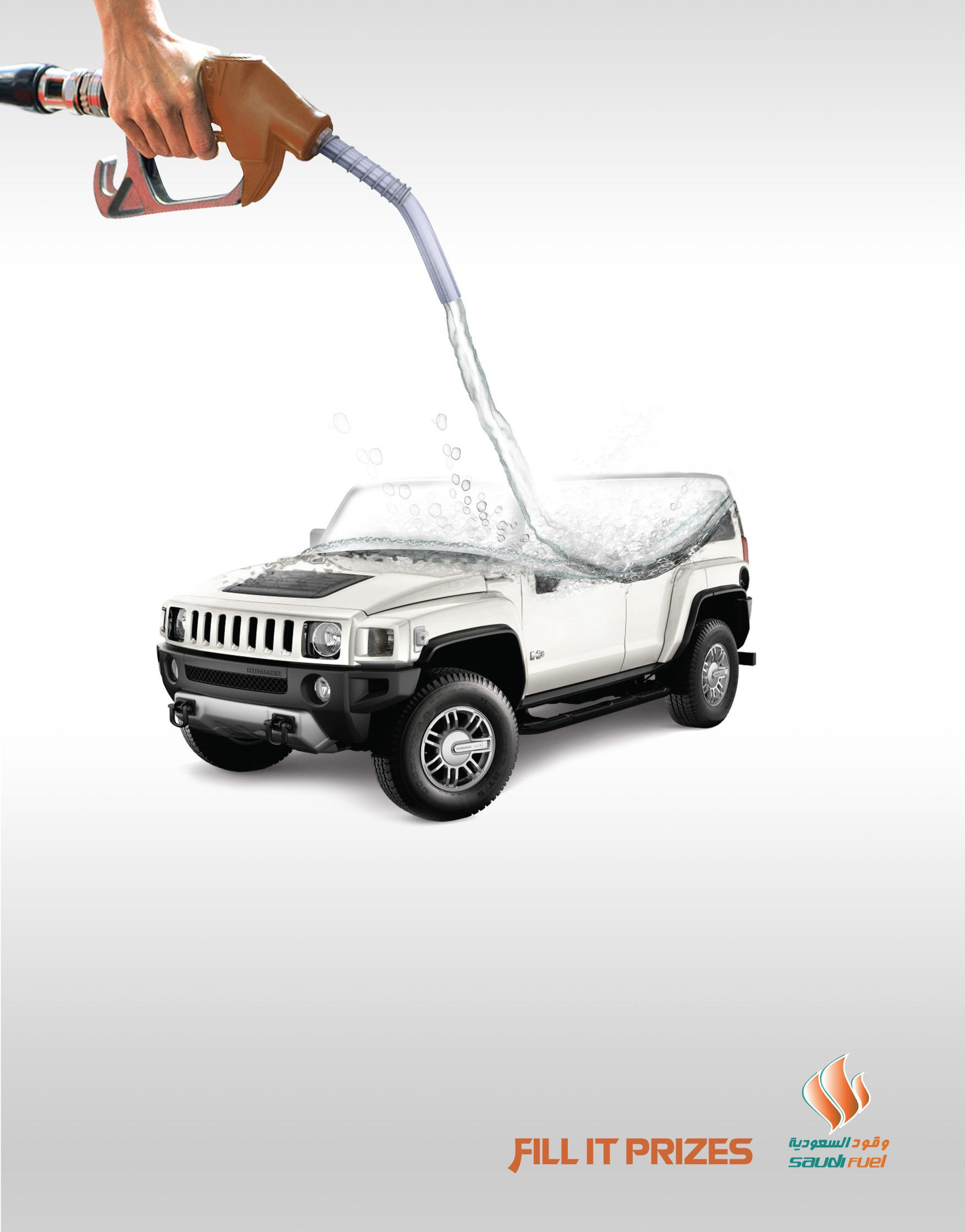 Saudi Fuel Print Ad -  Fill it Prizes, Car
