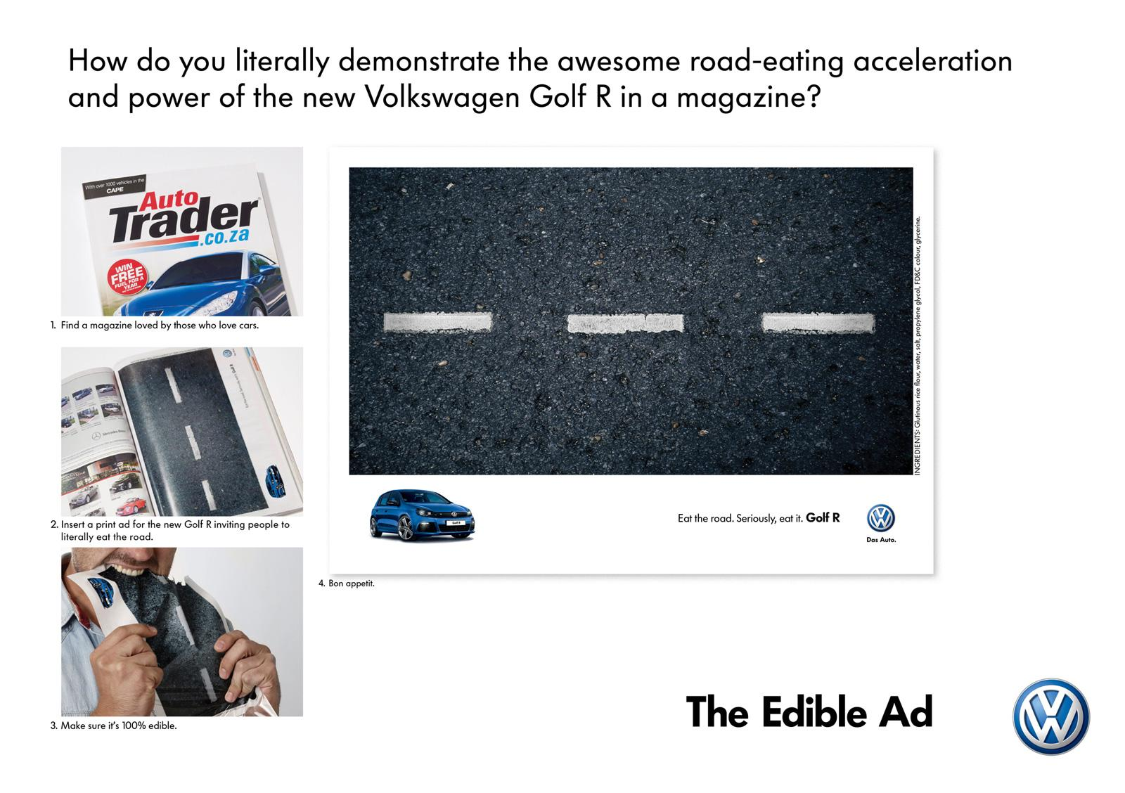 Volkswagen Print Ad -  Eat the Road