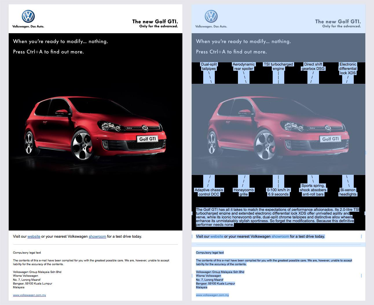 Volkswagen Digital Ad -  The new Golf GTI. Only for the advanced.