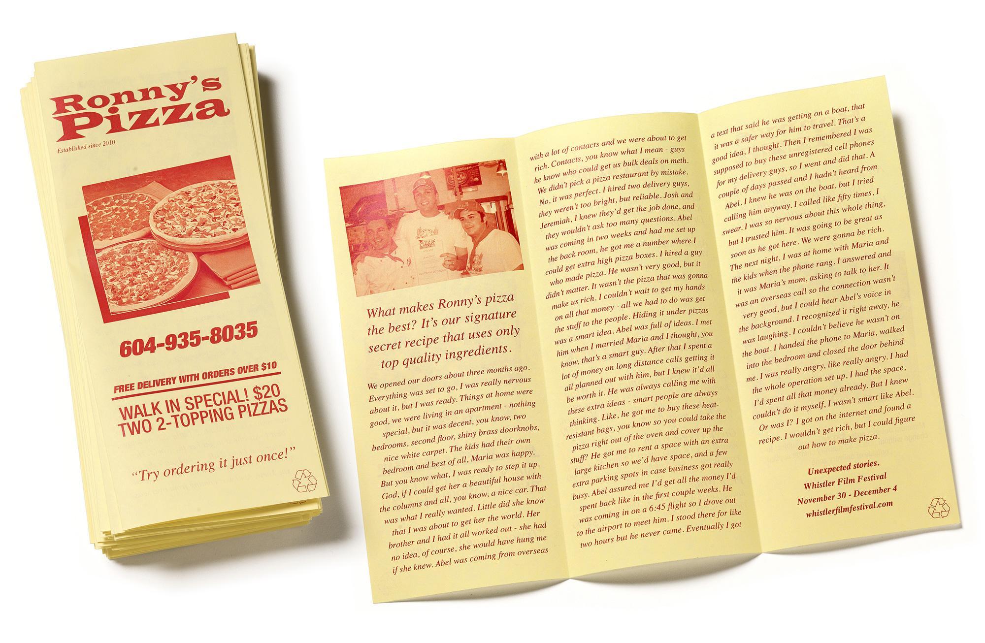Whistler Film Festival Direct Ad -  Pizza flyer