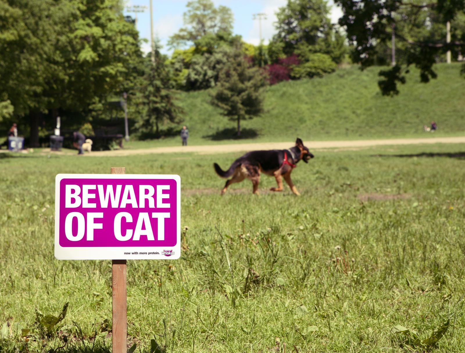 Whiskas Outdoor Ad -  Beware of cat sign