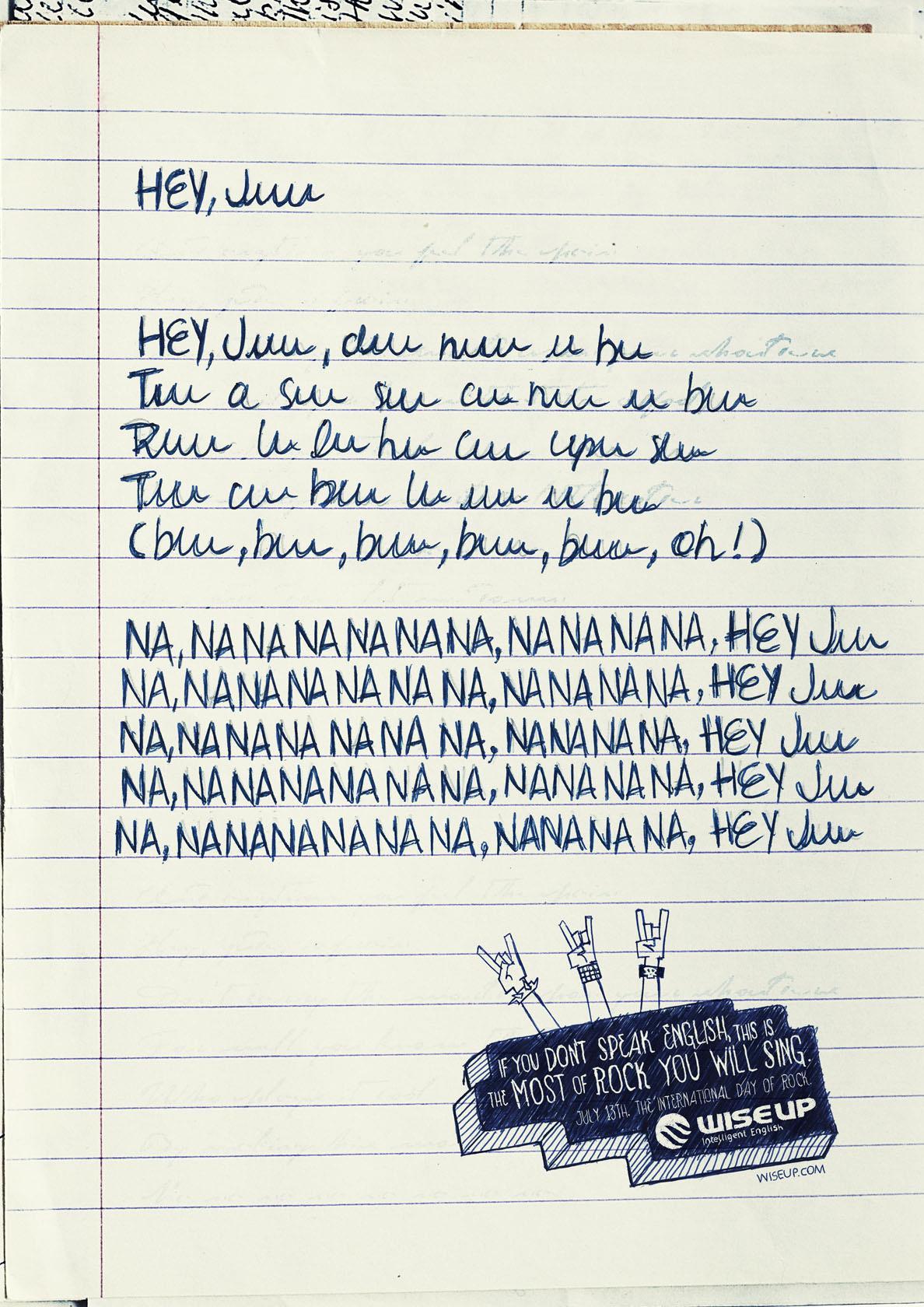Wise Up English School Print Ad -  Lyrics, Nanana