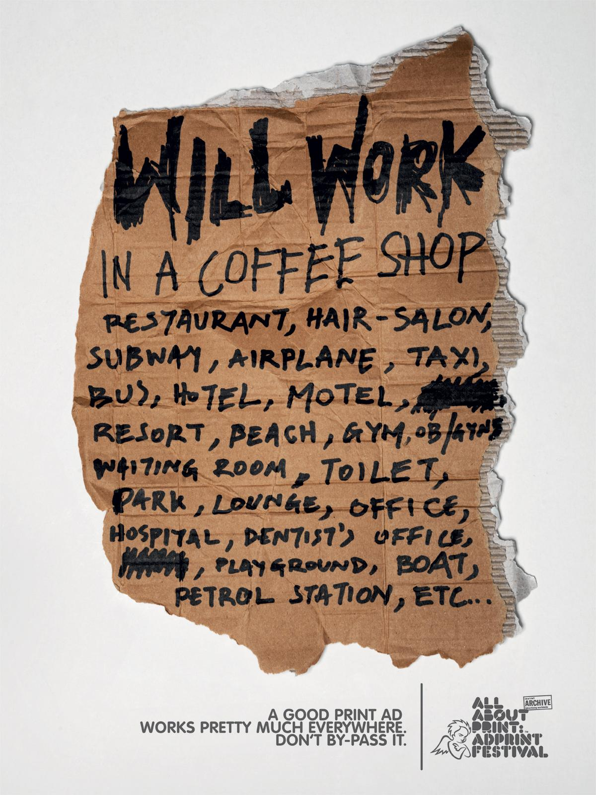 AdPrint Print Ad -  Will work in a coffee shop