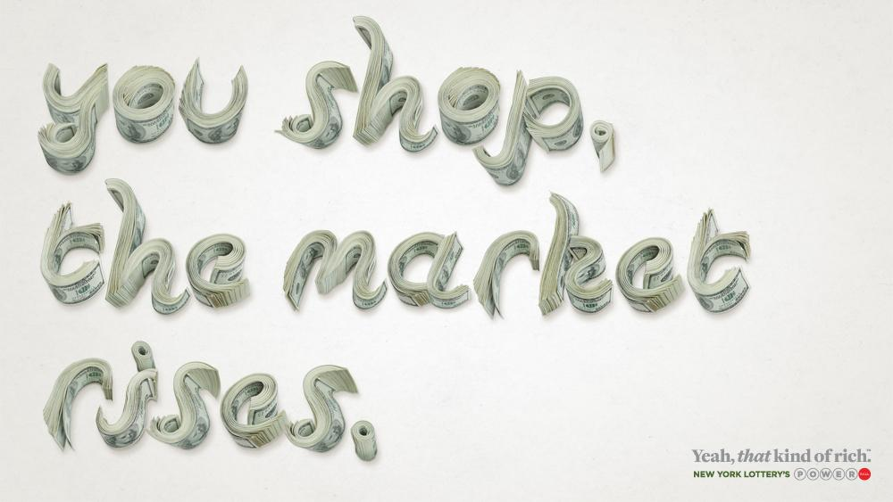 New York Lottery Print Ad -  You Shop, Market Rises