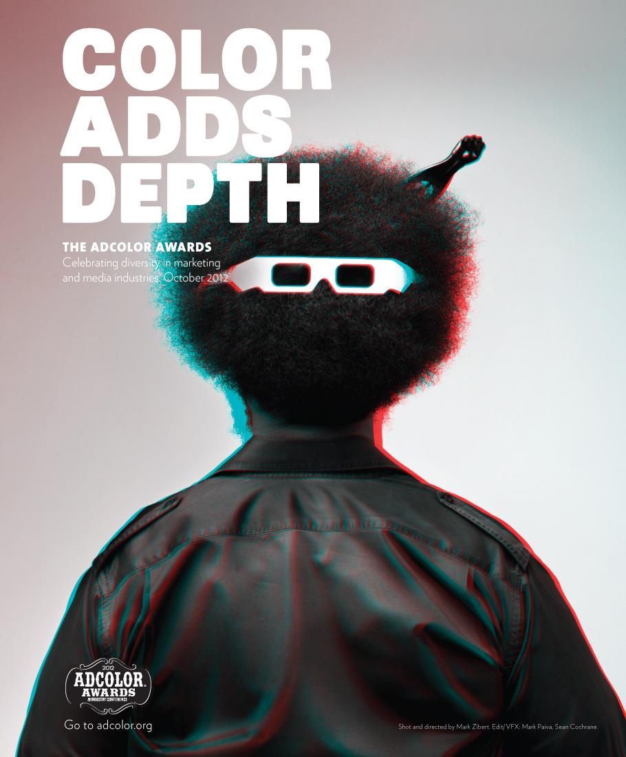 ADCOLOR Awards Print Ad -  Color Adds Depth, Questlove Afro