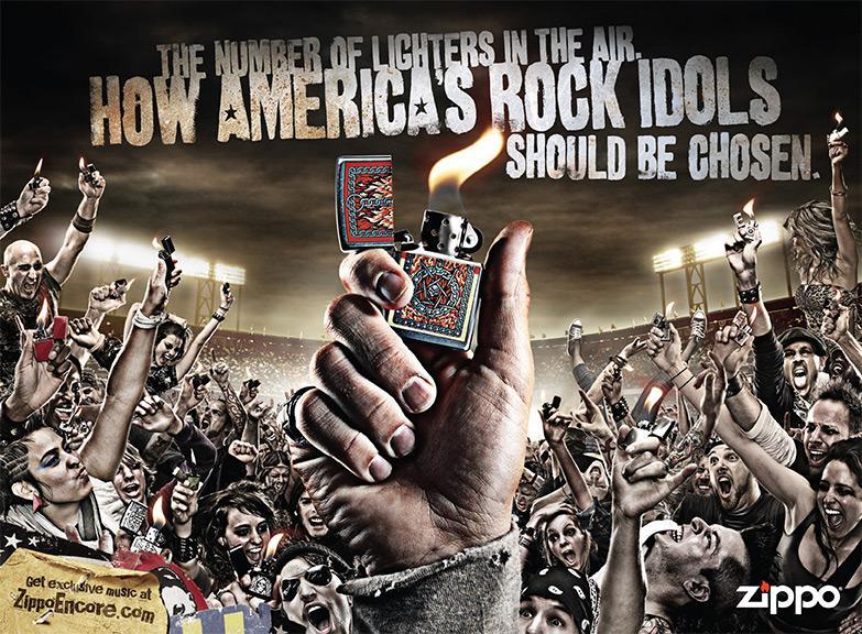 Zippo Print Ad -  Rock idols