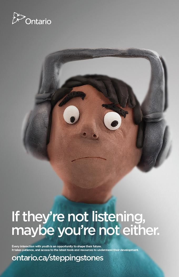 Ontario Ministry of Child and Youth Services Print Ad -  Listening
