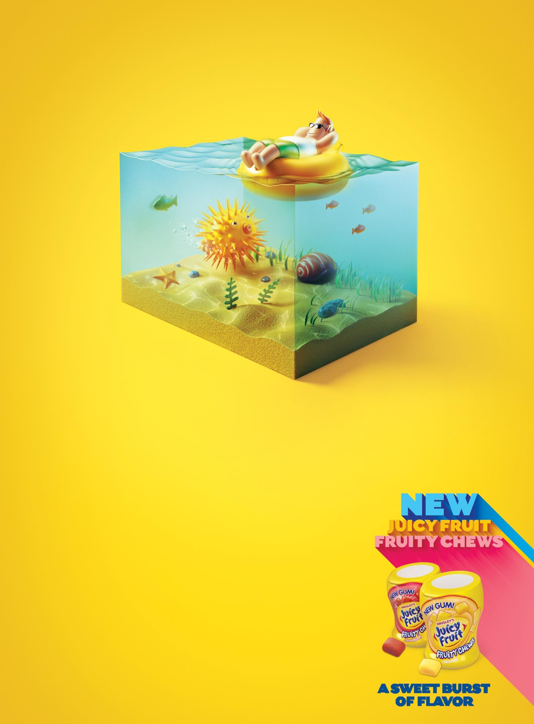 Juicy Fruit Print Ad -  Blowfish