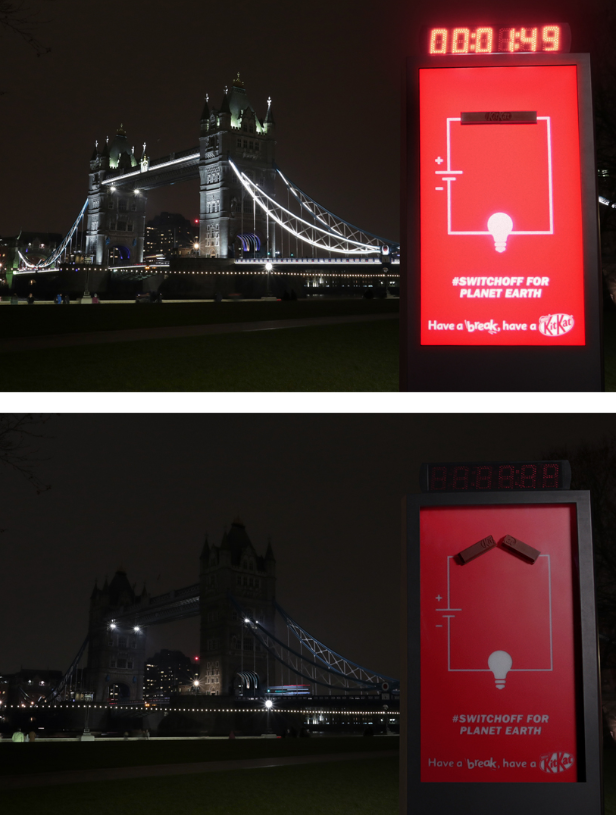 Kit Kat Outdoor Ad - Billboard That Switches Itself Off