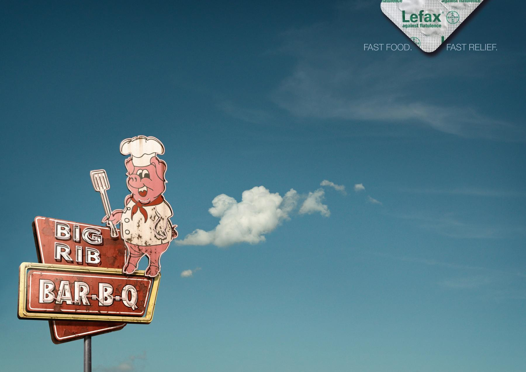Enzym Lefax Print Ad -  Fast food flatulence, Pig