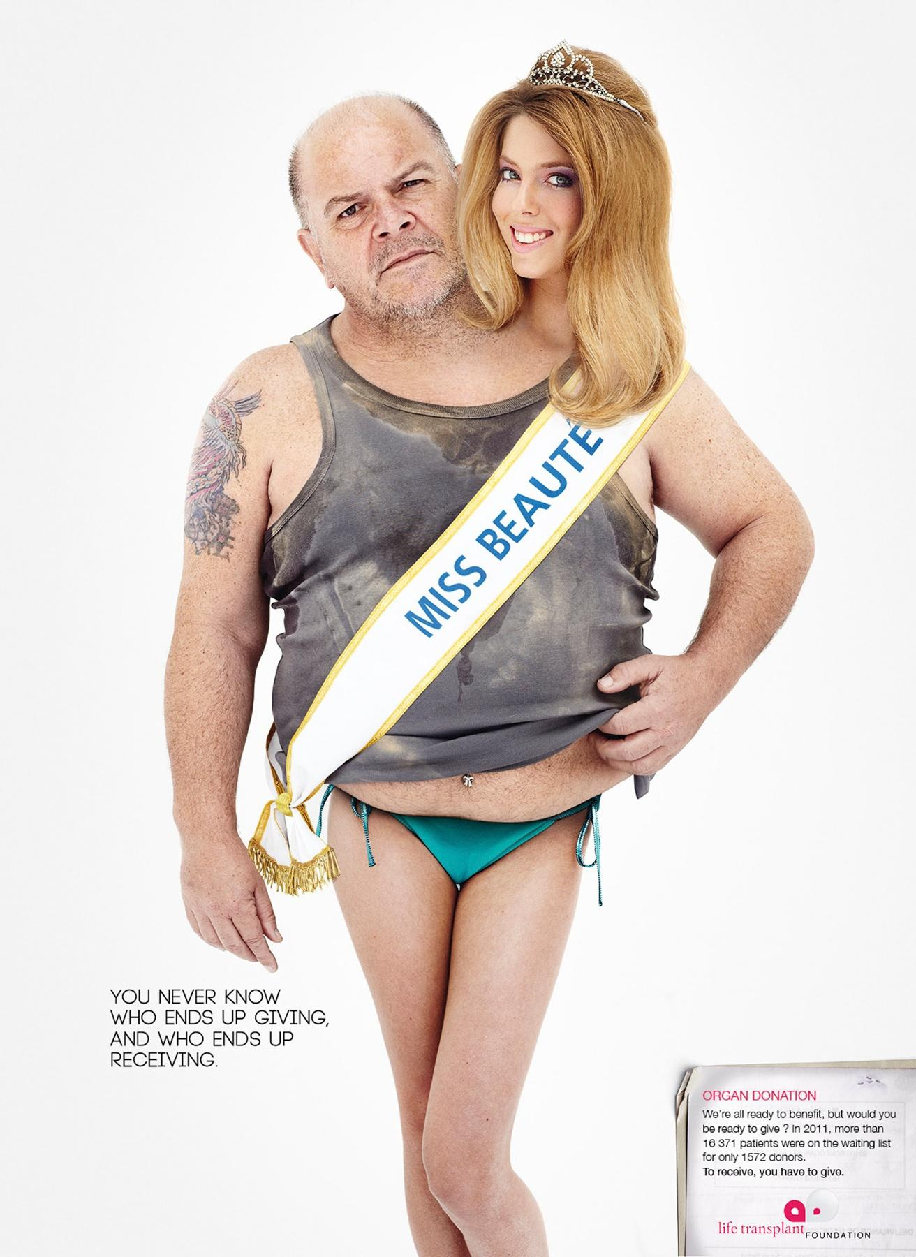 Life Transplant Foundation Print Ad -  Fat guy and miss