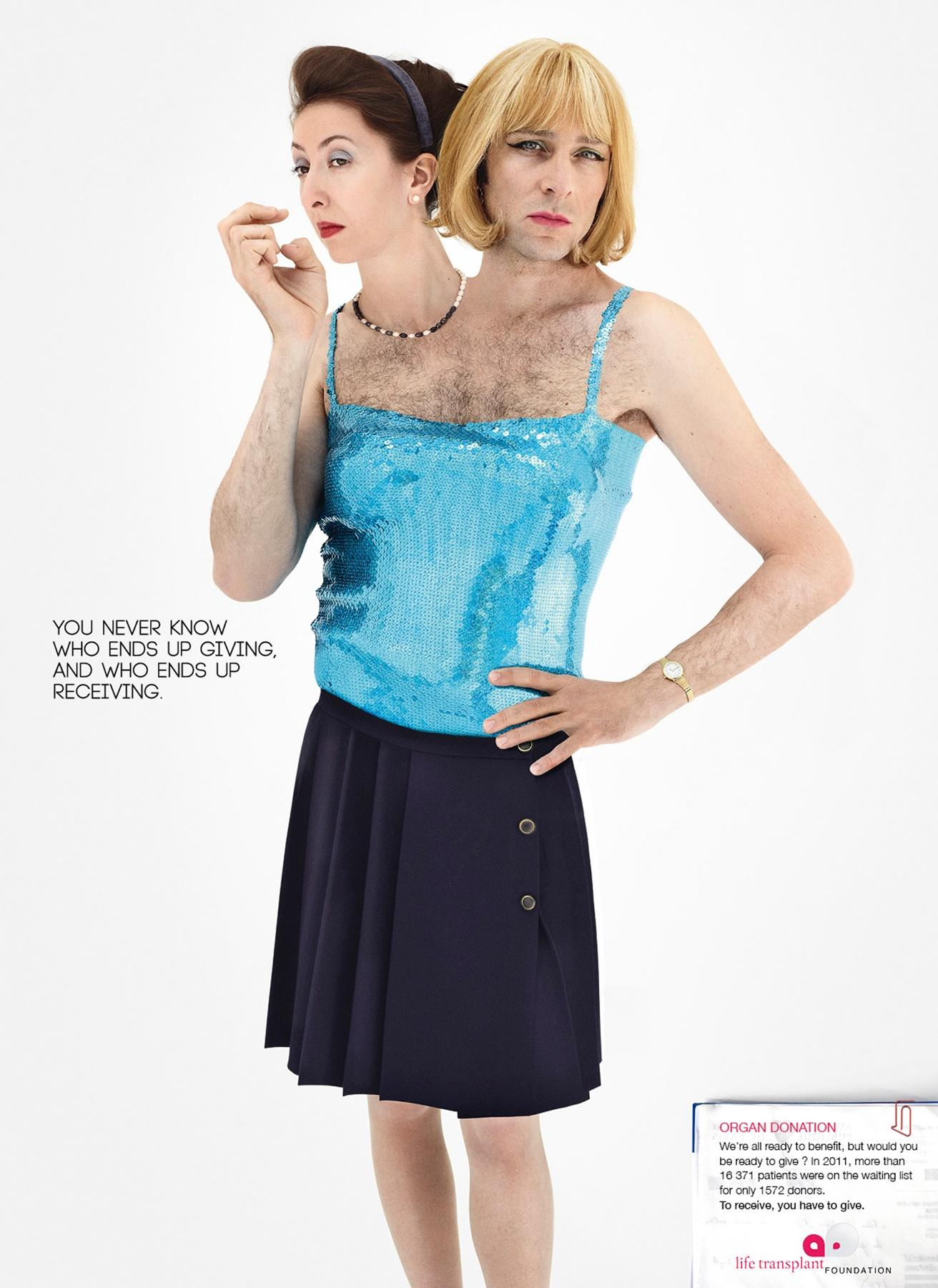 Life Transplant Foundation Print Ad -  Lady and shemale