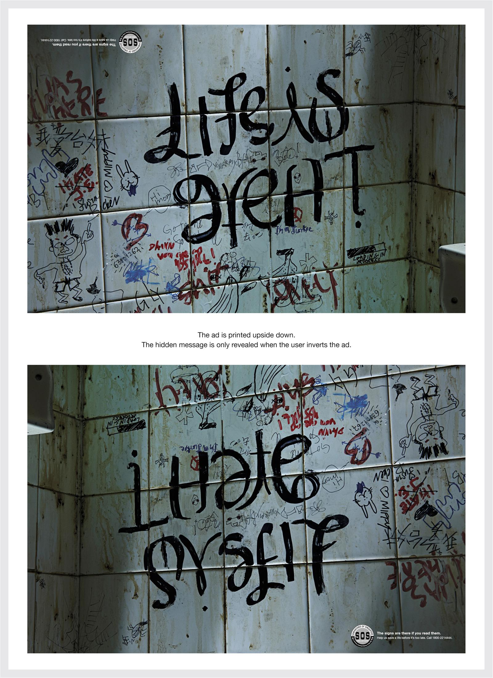 SOS Print Ad -  The Hidden Pain, Life is Great / I Hate Myself