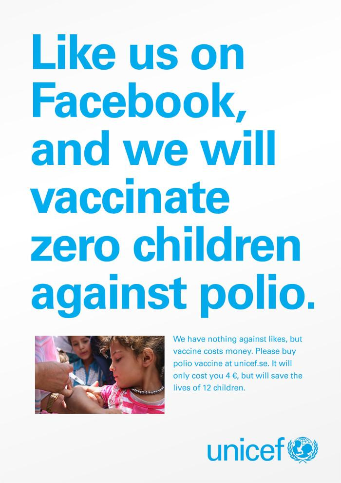 Unicef Print Ad -  Likes don't save lives