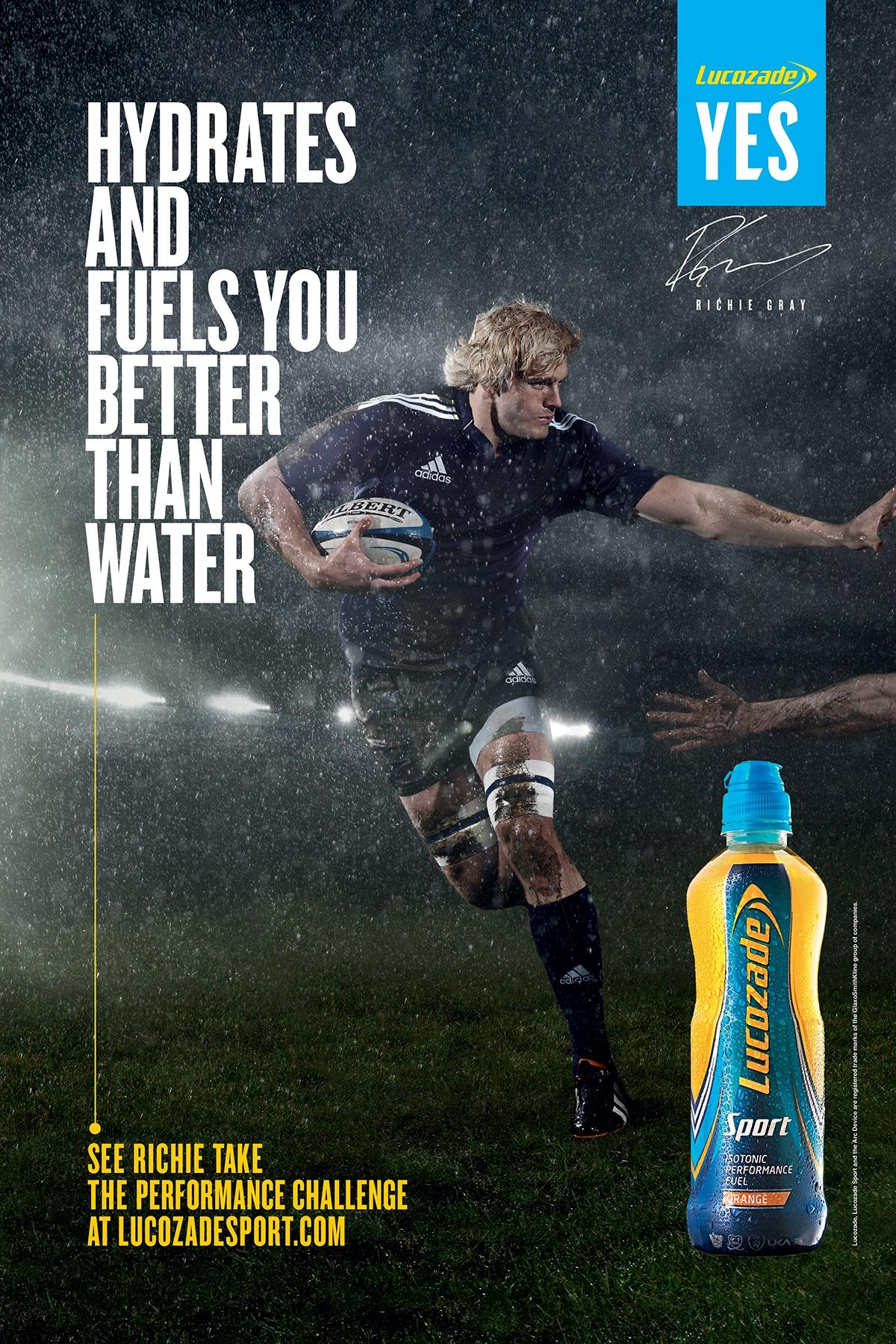 Lucozade Print Ad -  Hydrates and fuels you better than water, 3