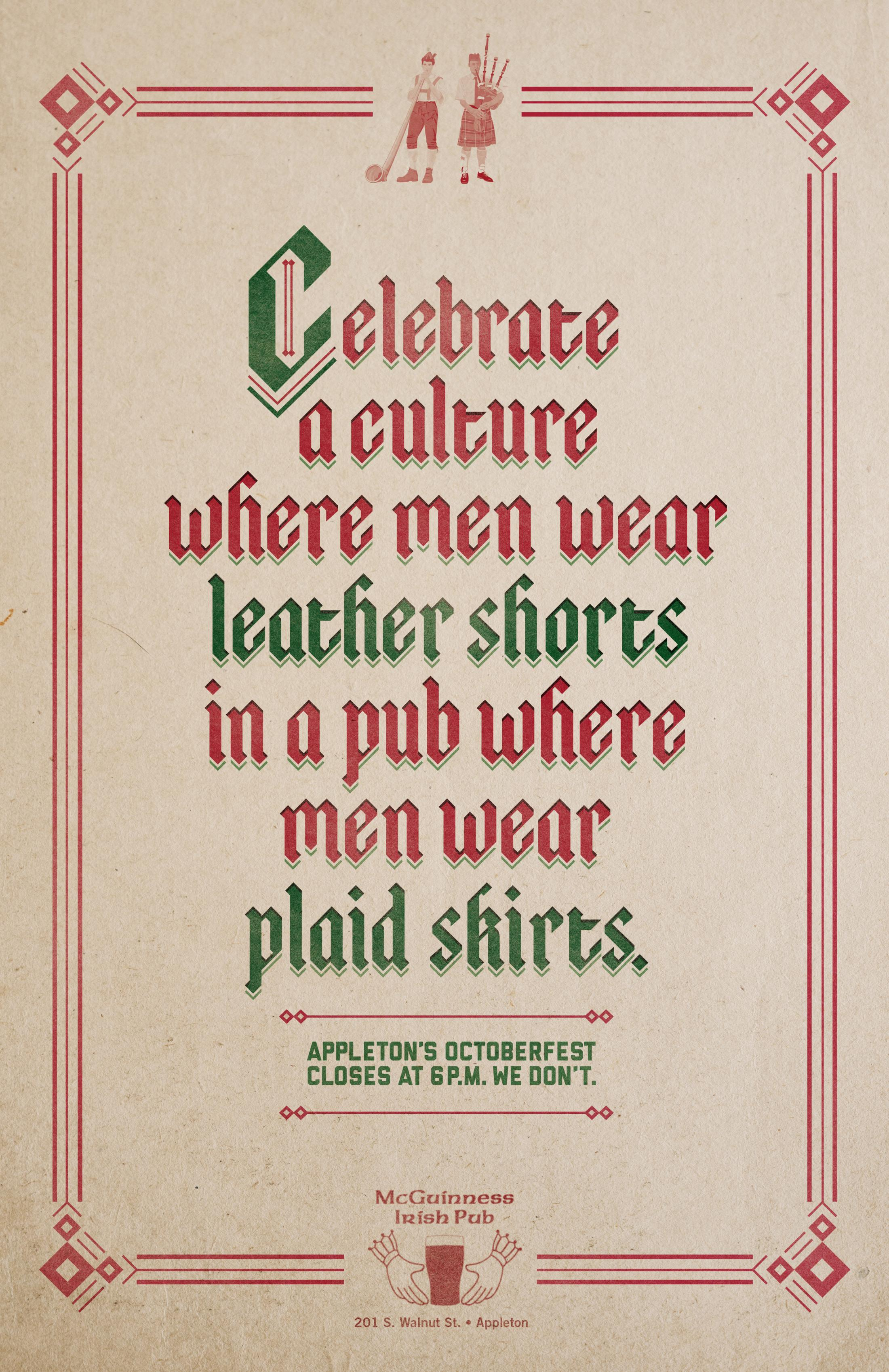 McGuinness Irish Pub Outdoor Ad -  Leather Shorts
