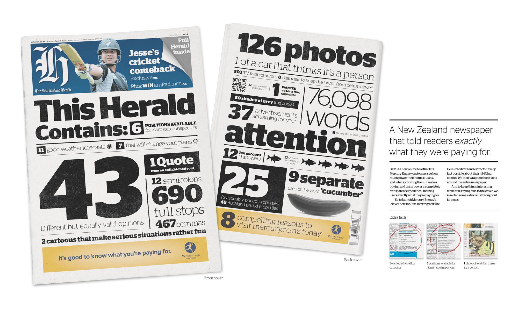 Mercury Energy Print Ad -  The transparent newspaper