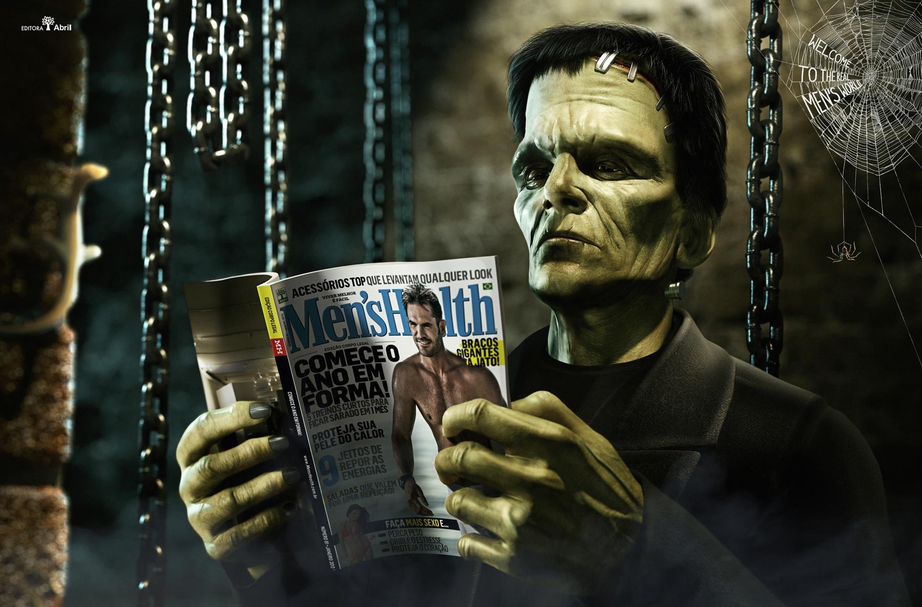 Men's Health Print Ad -  Real Men's world, Frankenstein