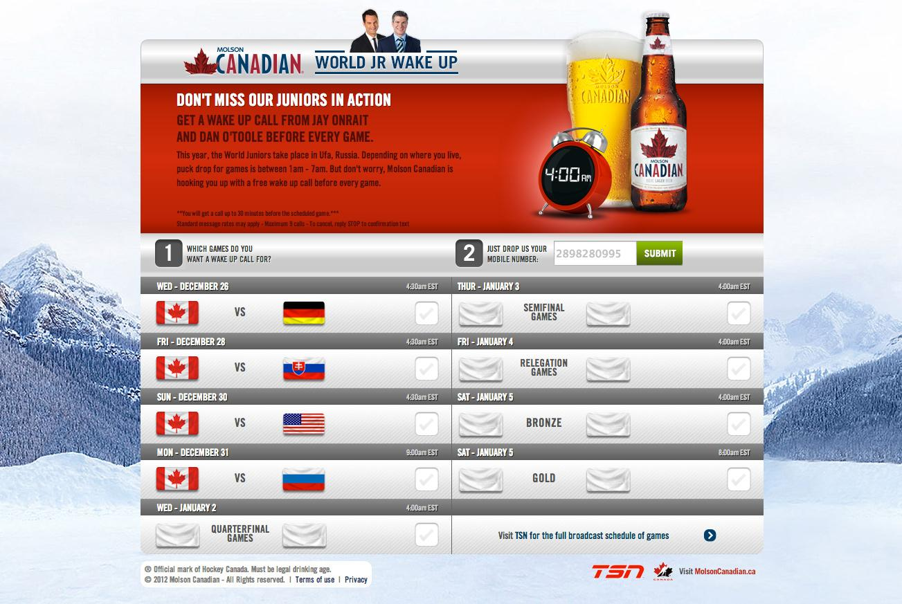 Molson Canadian Digital Ad -  World Jr. Wake Up