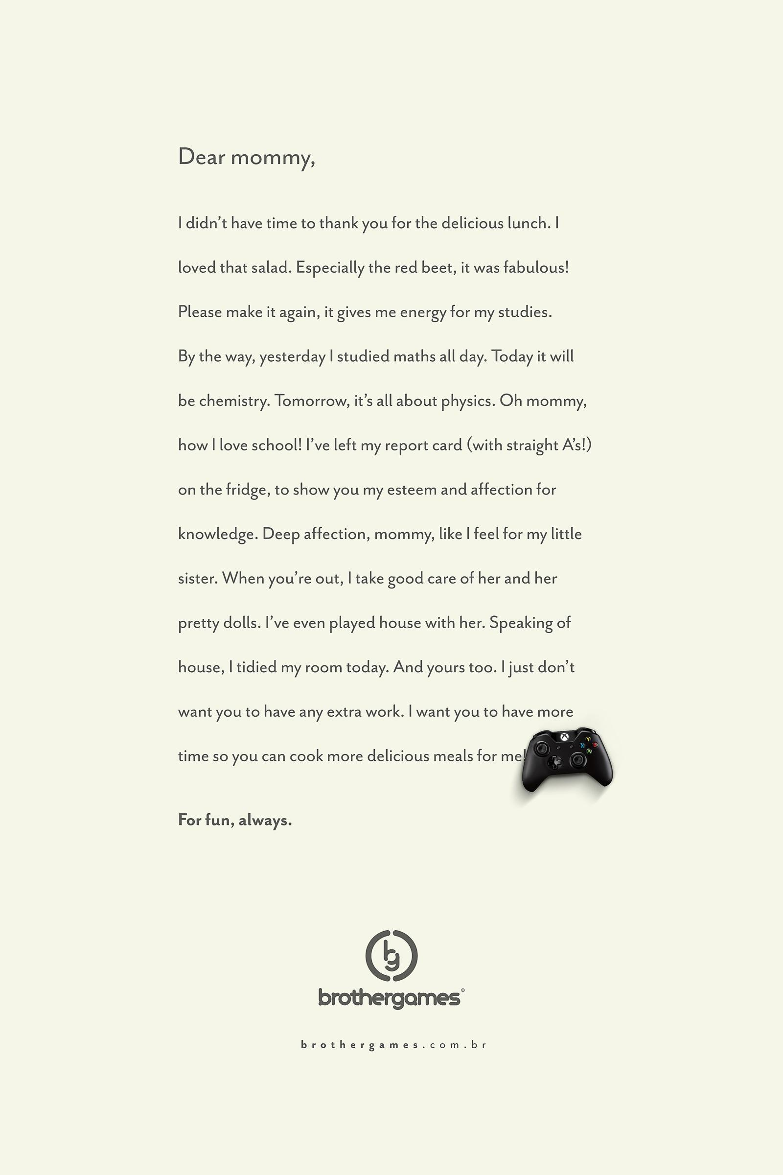 Brother Games Print Ad -  Mom