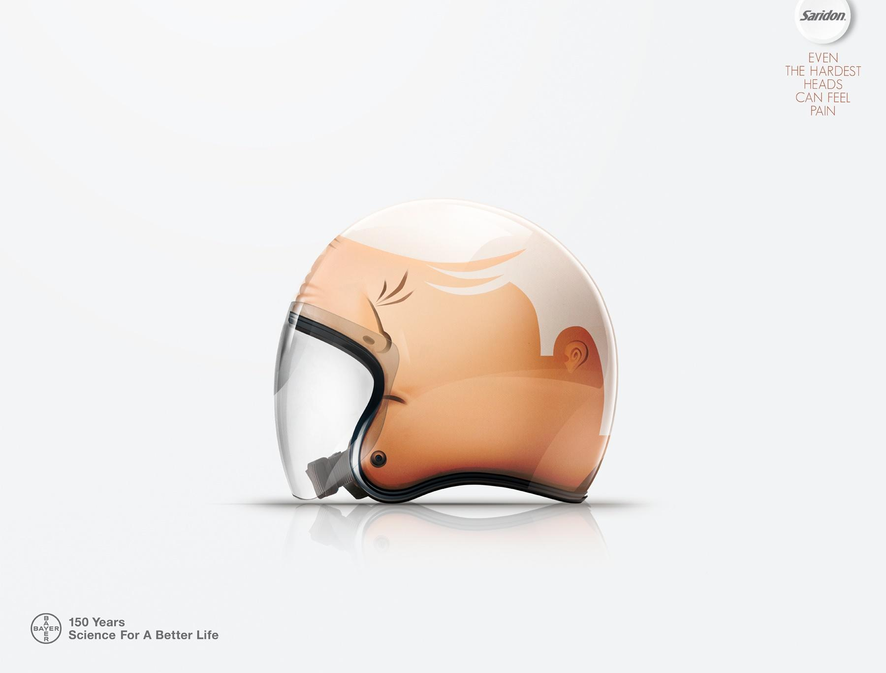 Saridon Print Ad -  Motorcycle helmet