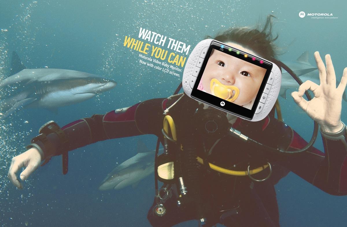 Motorola Print Ad -  Sharks