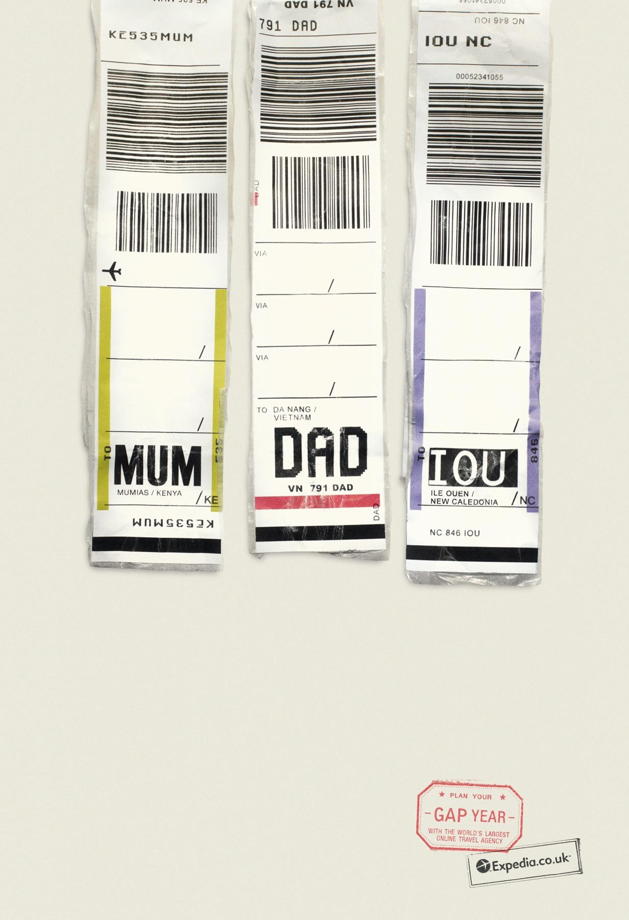 Expedia Print Ad -  MUM DAD IOU