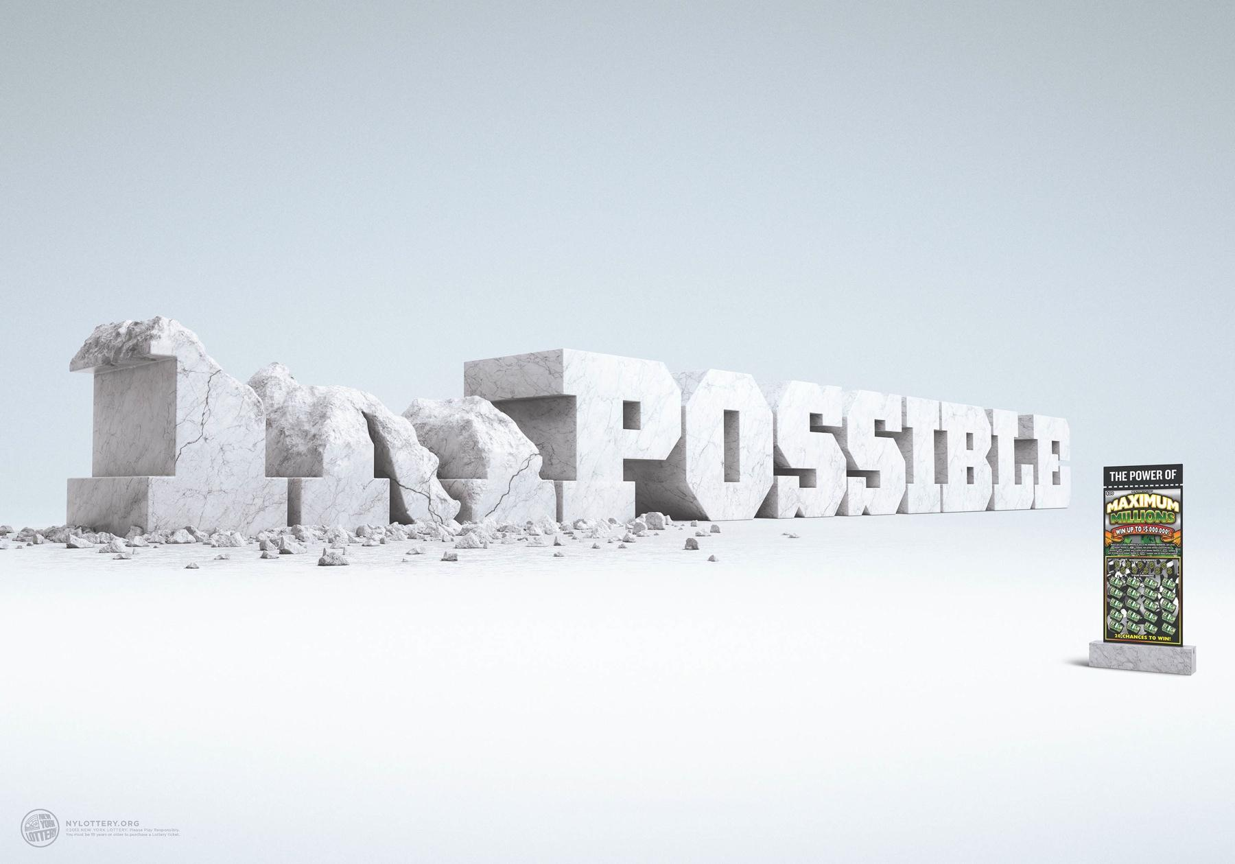 New York Lottery Print Ad -  Impossible-Possible