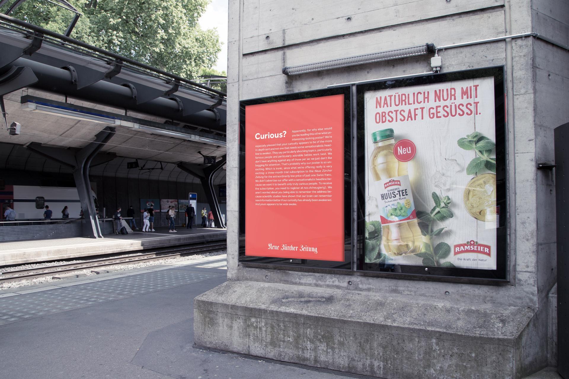 Neue Zürcher Zeitung Outdoor Ad - Curious