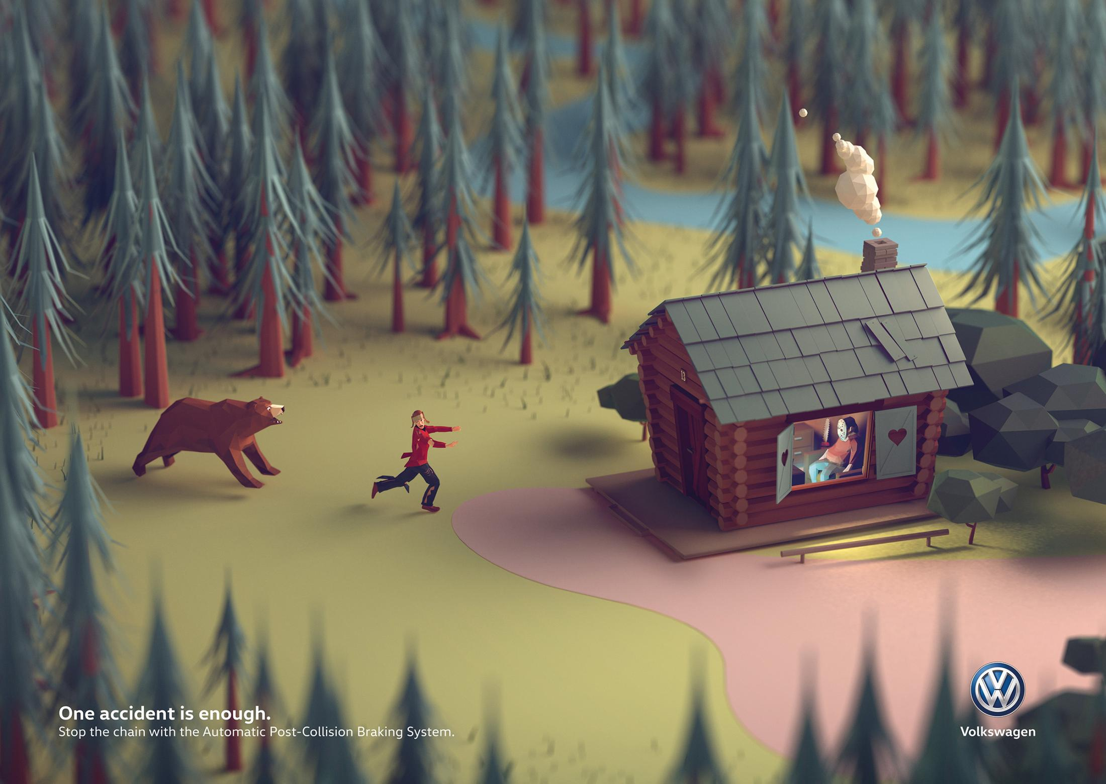 Volkswagen Print Ad - One Accident Is Enough, Forest