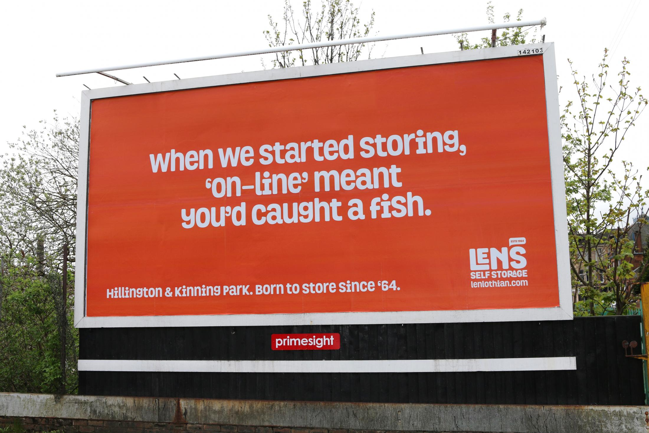 Len's Self Storage Outdoor Ad - Born To Store Since '64, 1