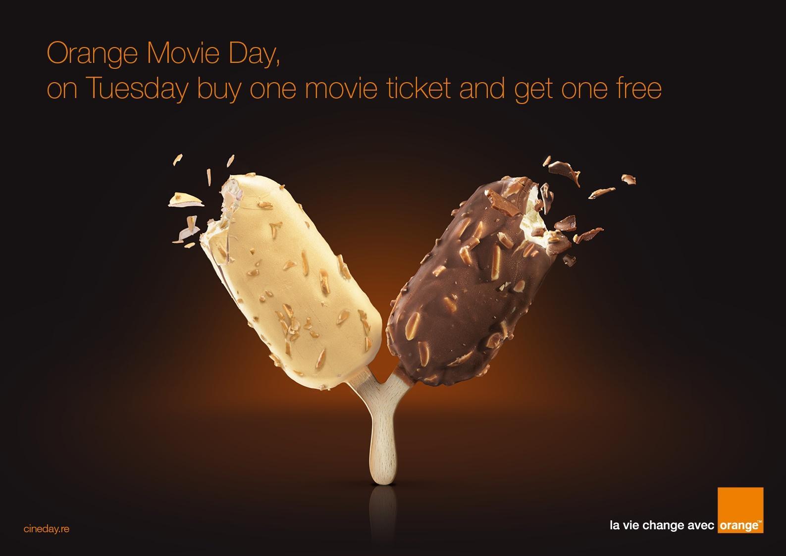 Orange Print Ad -  Movie day
