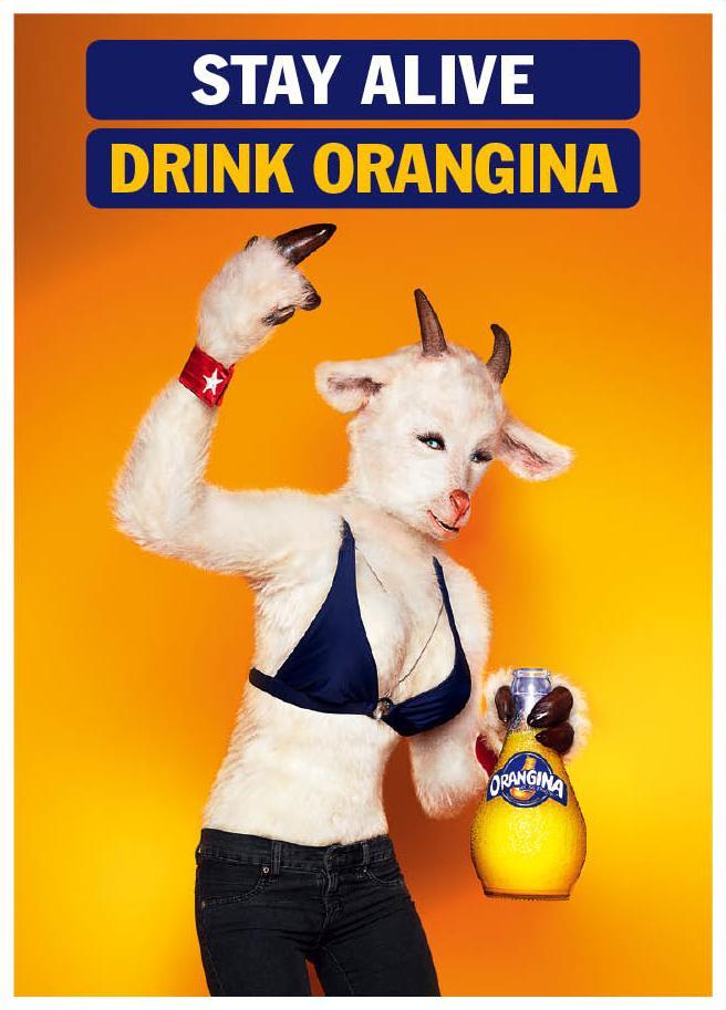 Orangina Print Ad -  Stay Alive, Goat