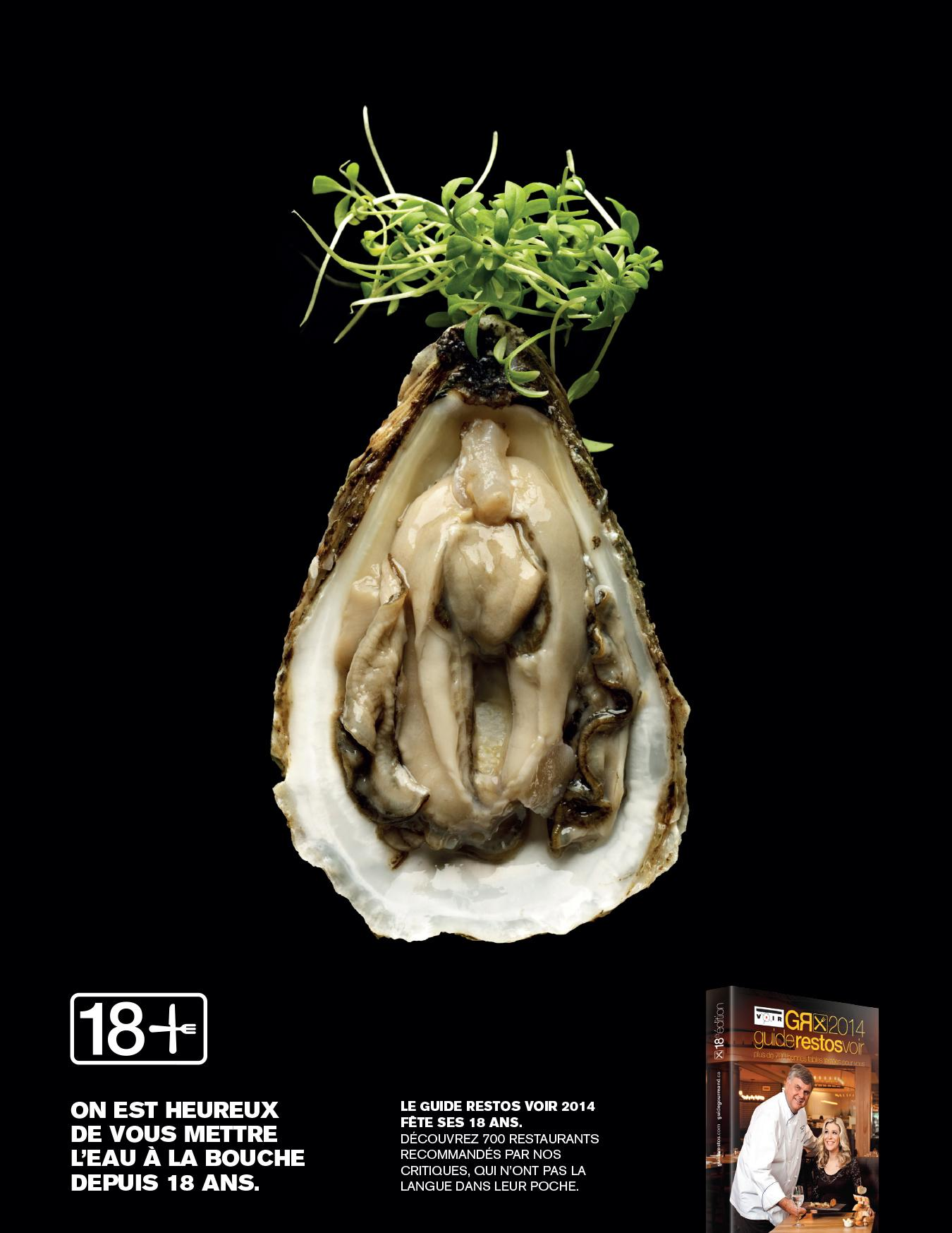The Voir Restaurant Guide Print Ad -  Oyster