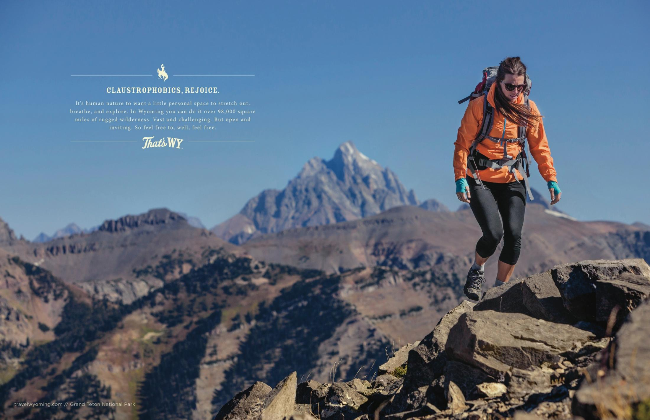 Wyoming Office of Tourism Print Ad -  Claustrophobics
