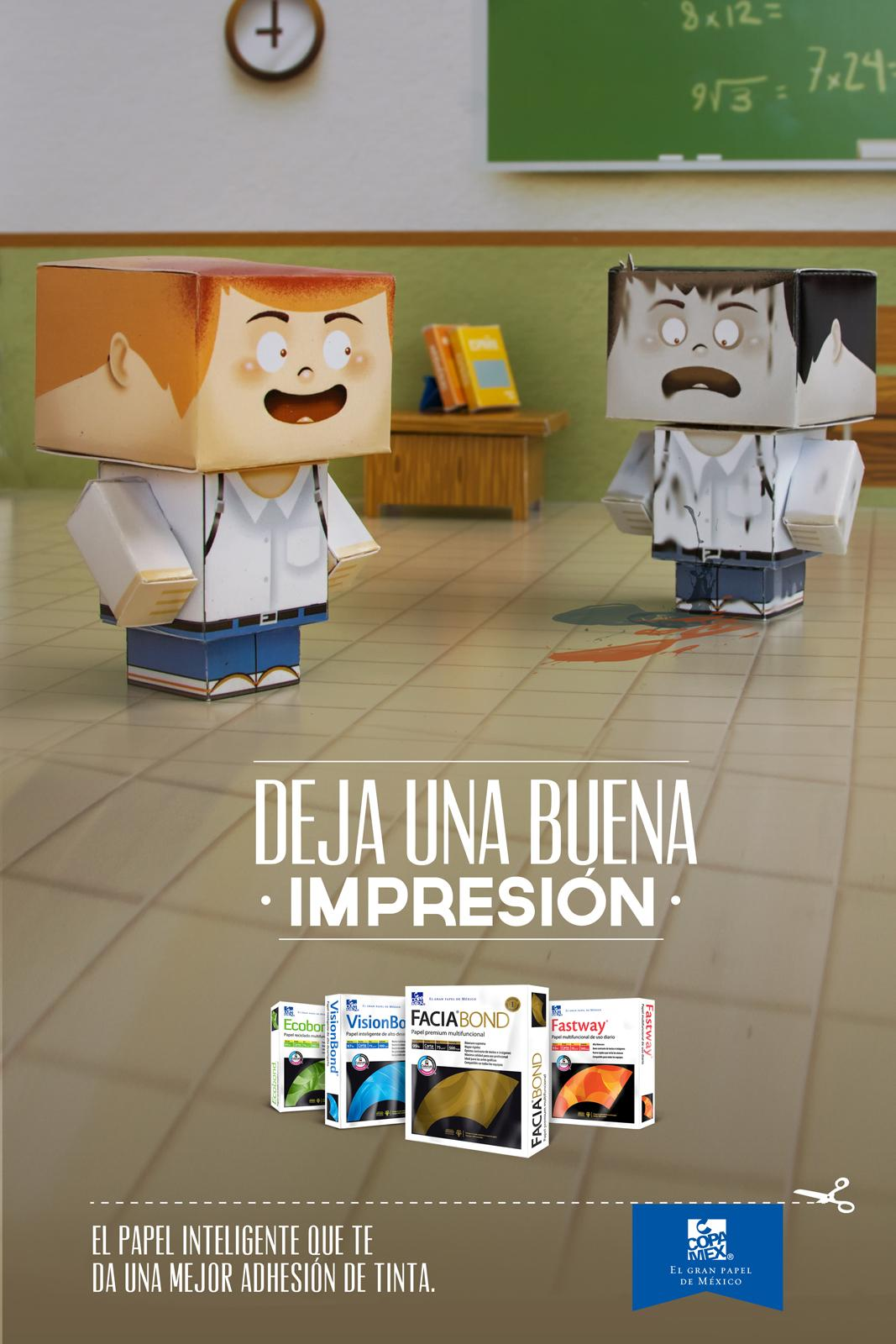 Copamex Print Ad -  Paper Toys, School