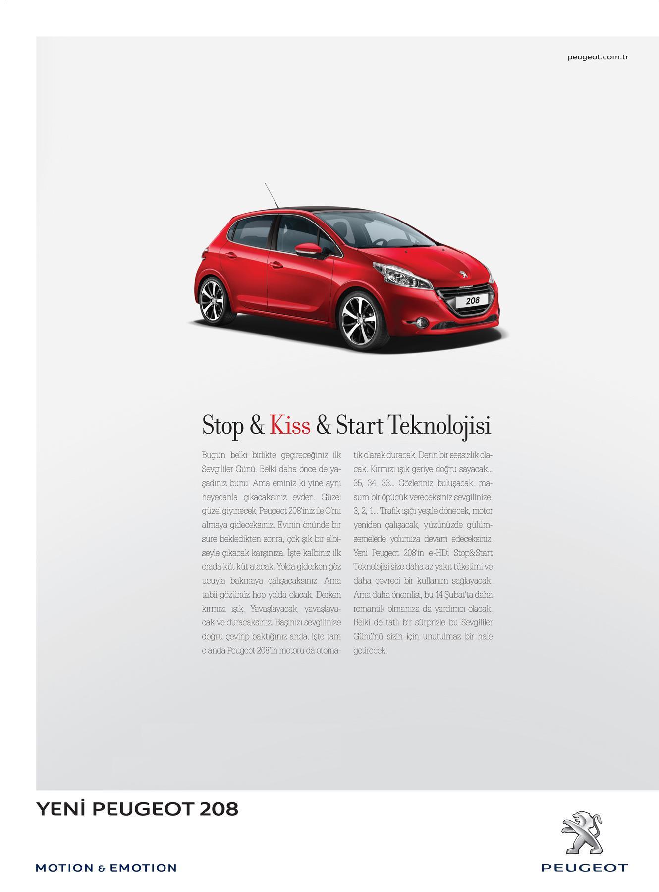 Peugeot Print Ad -  Stop & Kiss & Start