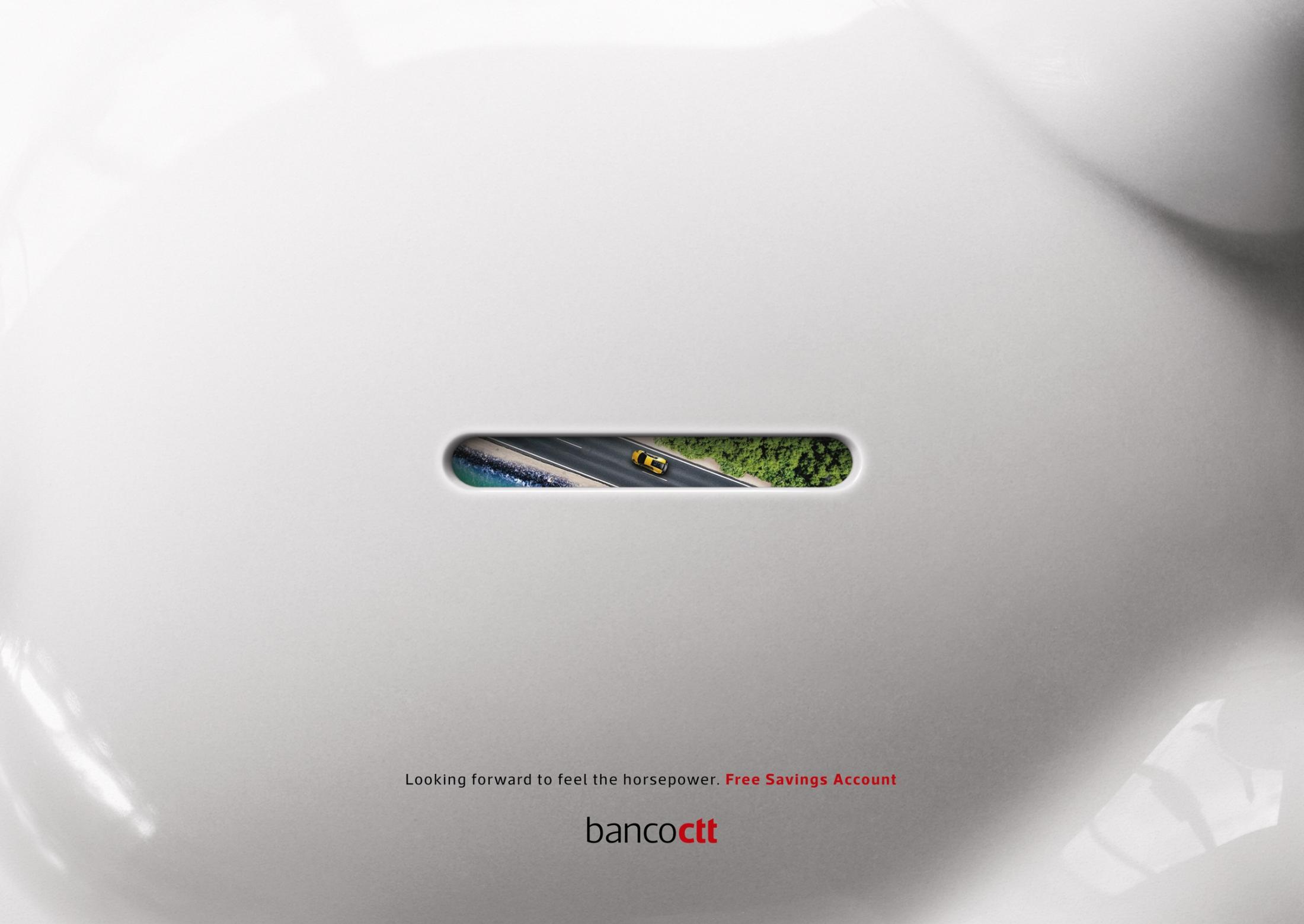Banco CTT Print Ad - Through the Piggy Hole - Car