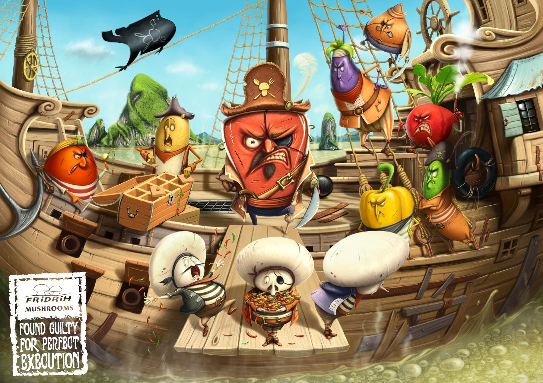 Fridrih Mushrooms Print Ad -  Pirates