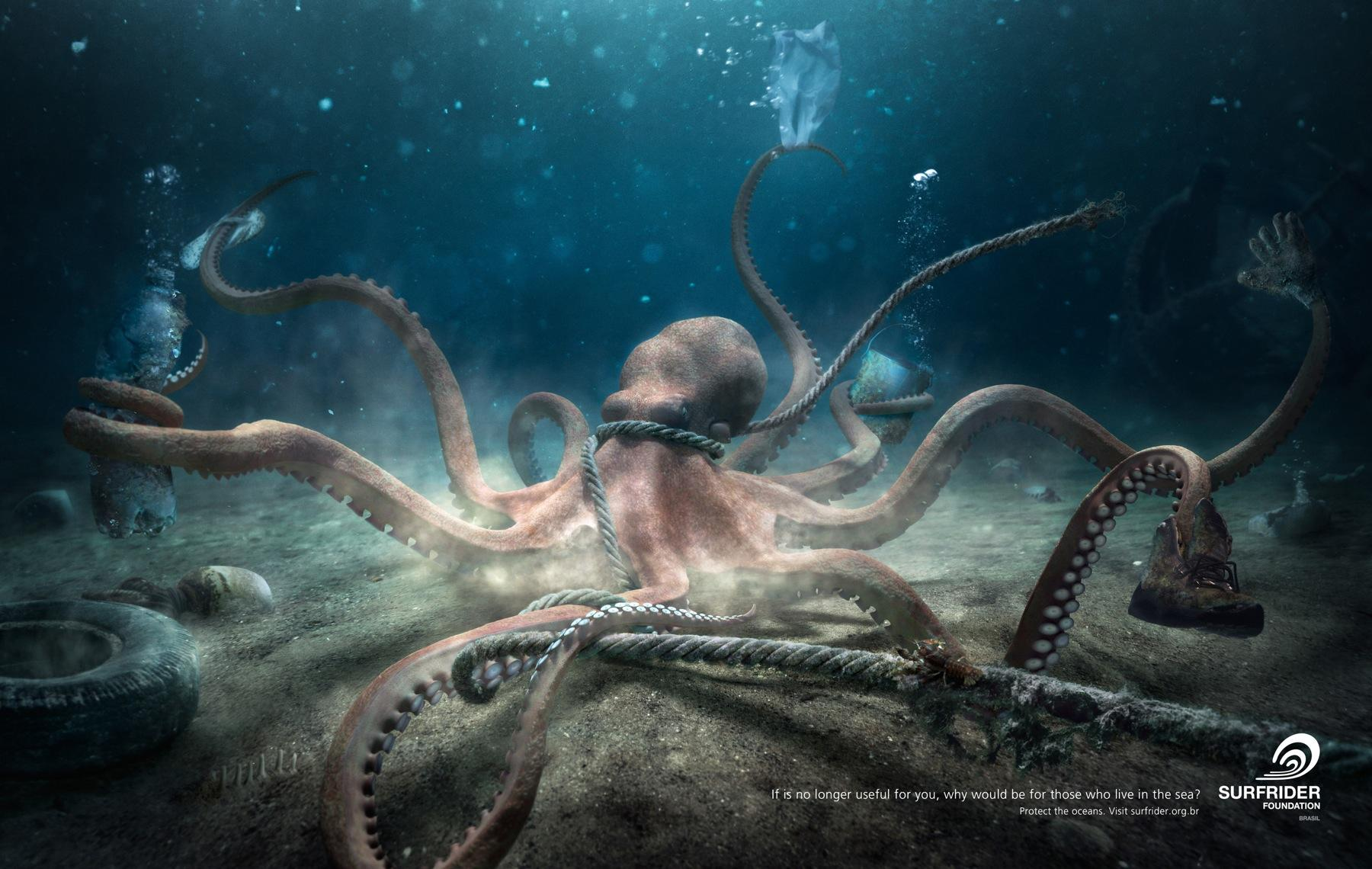 Surfrider Foundation Print Ad -  Octopus
