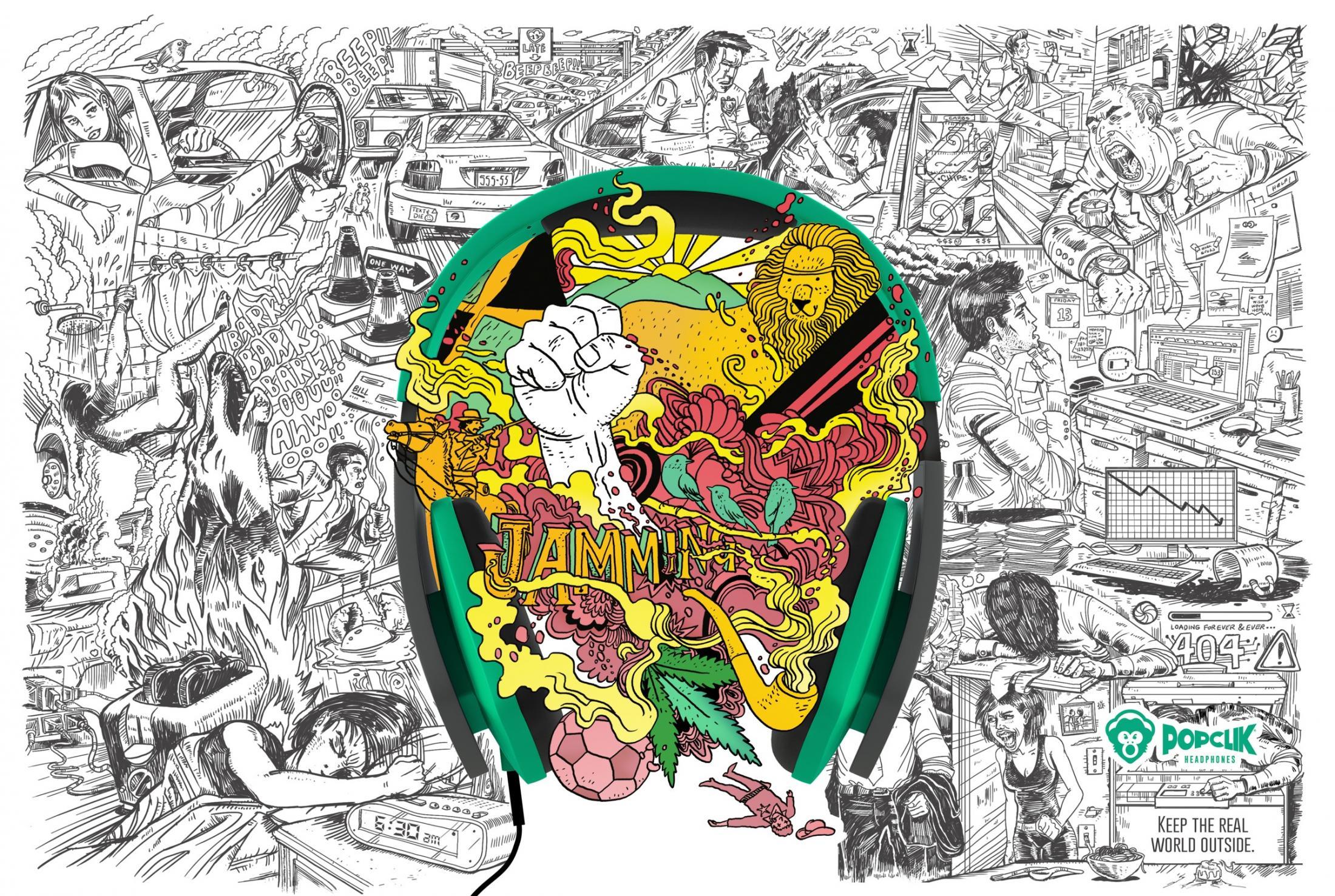 PopClik Headphones Print Ad -  Bob Marley