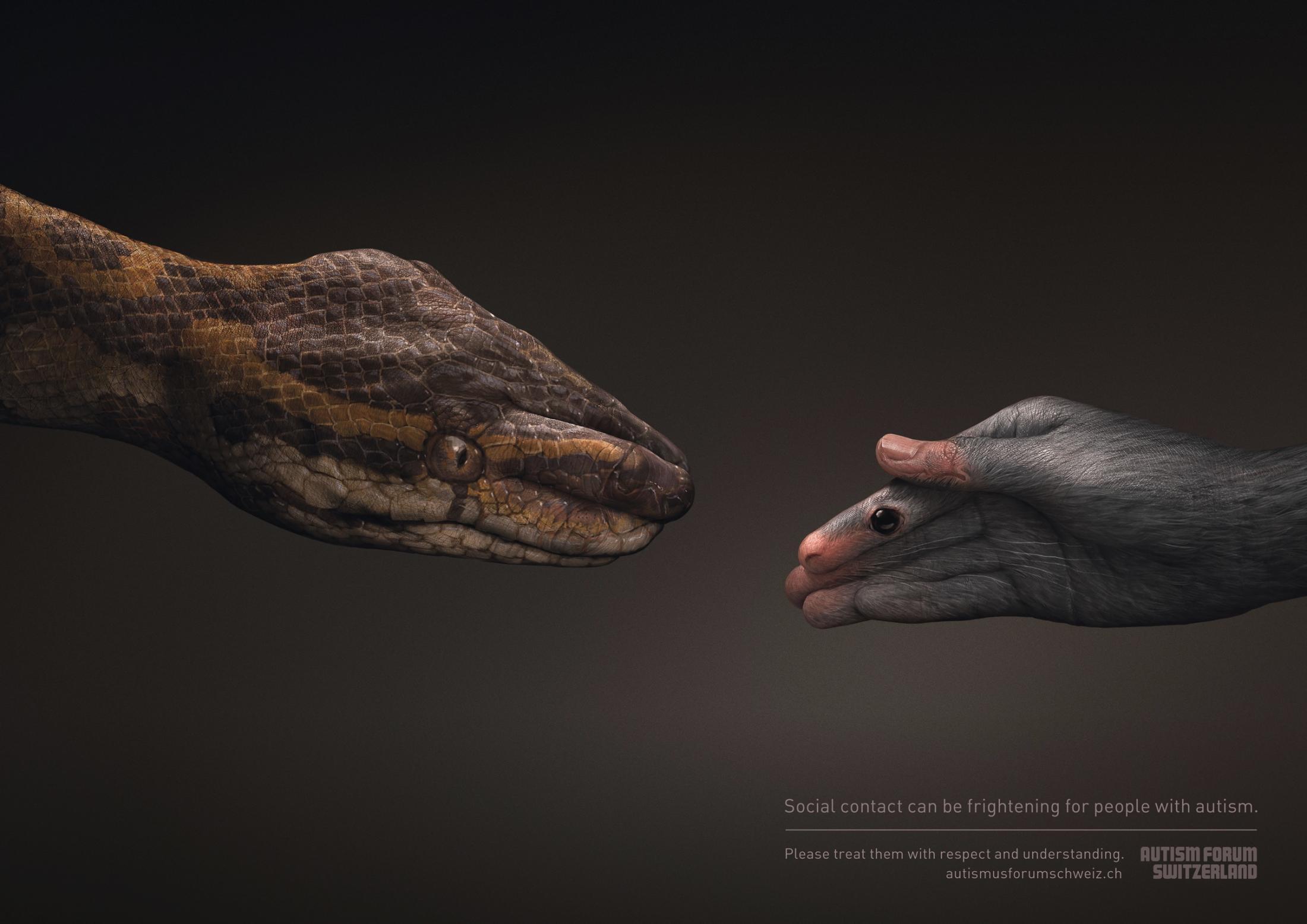 Autism Forum Switzerland Print Ad - Snake/Mouse
