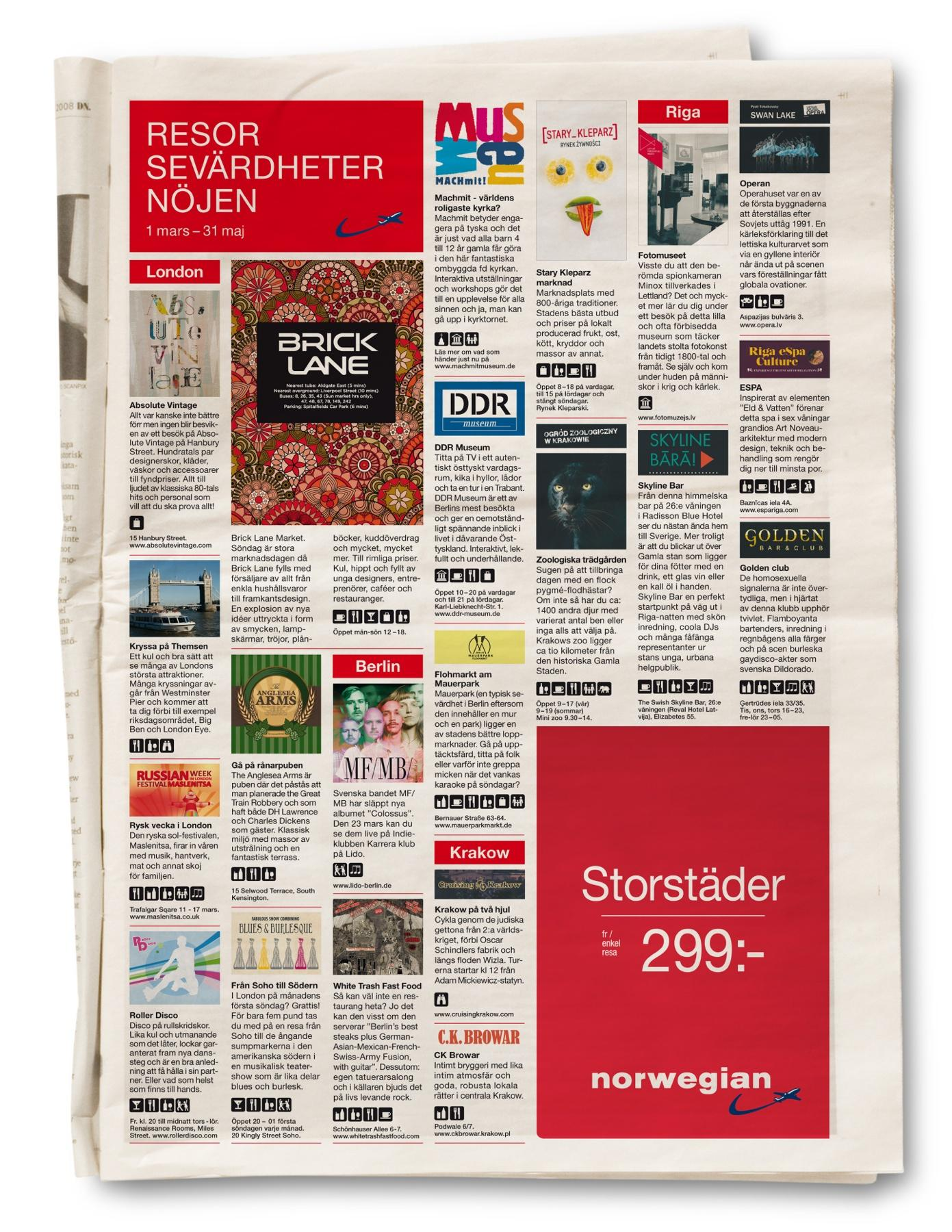 Norwegian Print Ad -  Cities