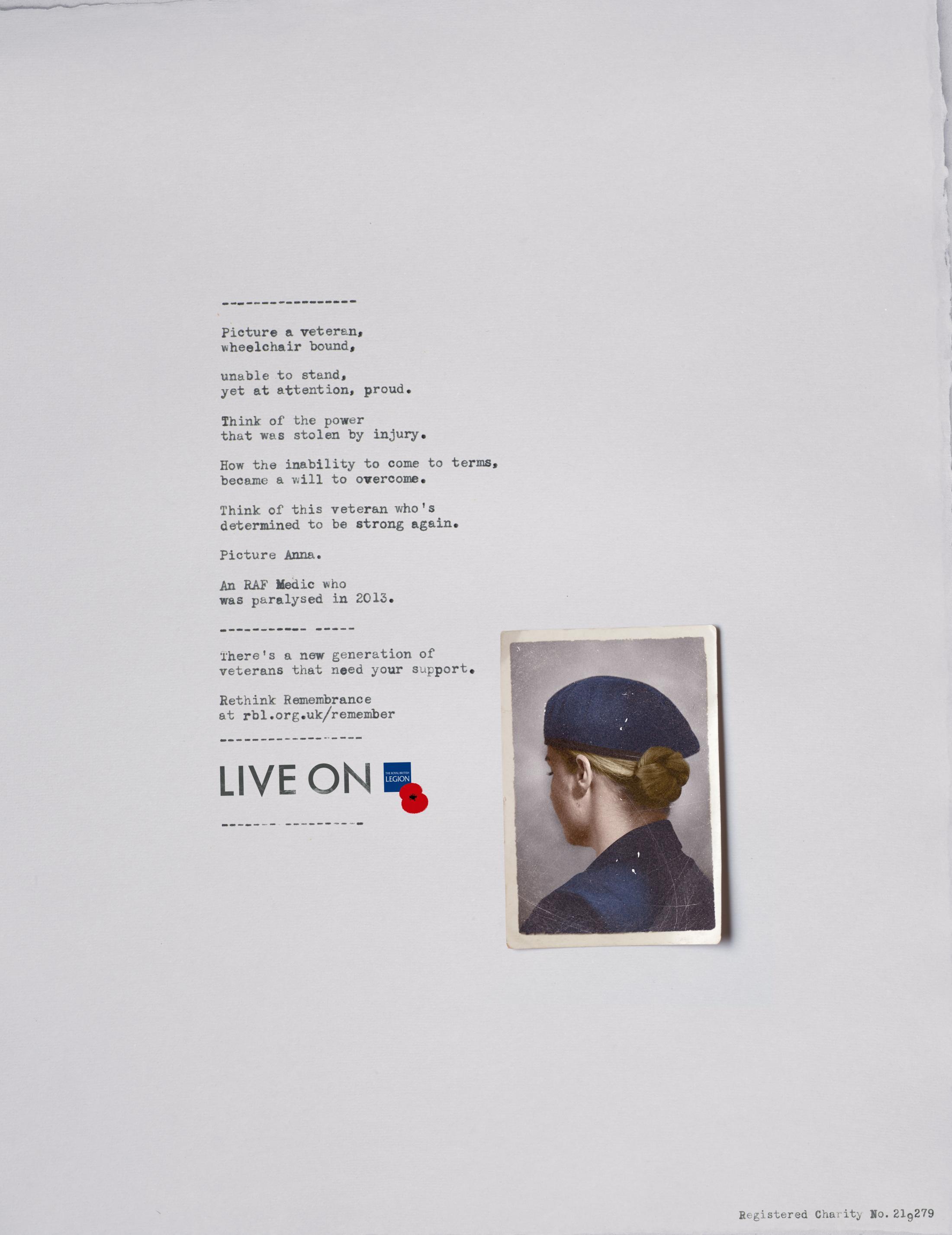 The Royal British Legion Print Ad - Anna