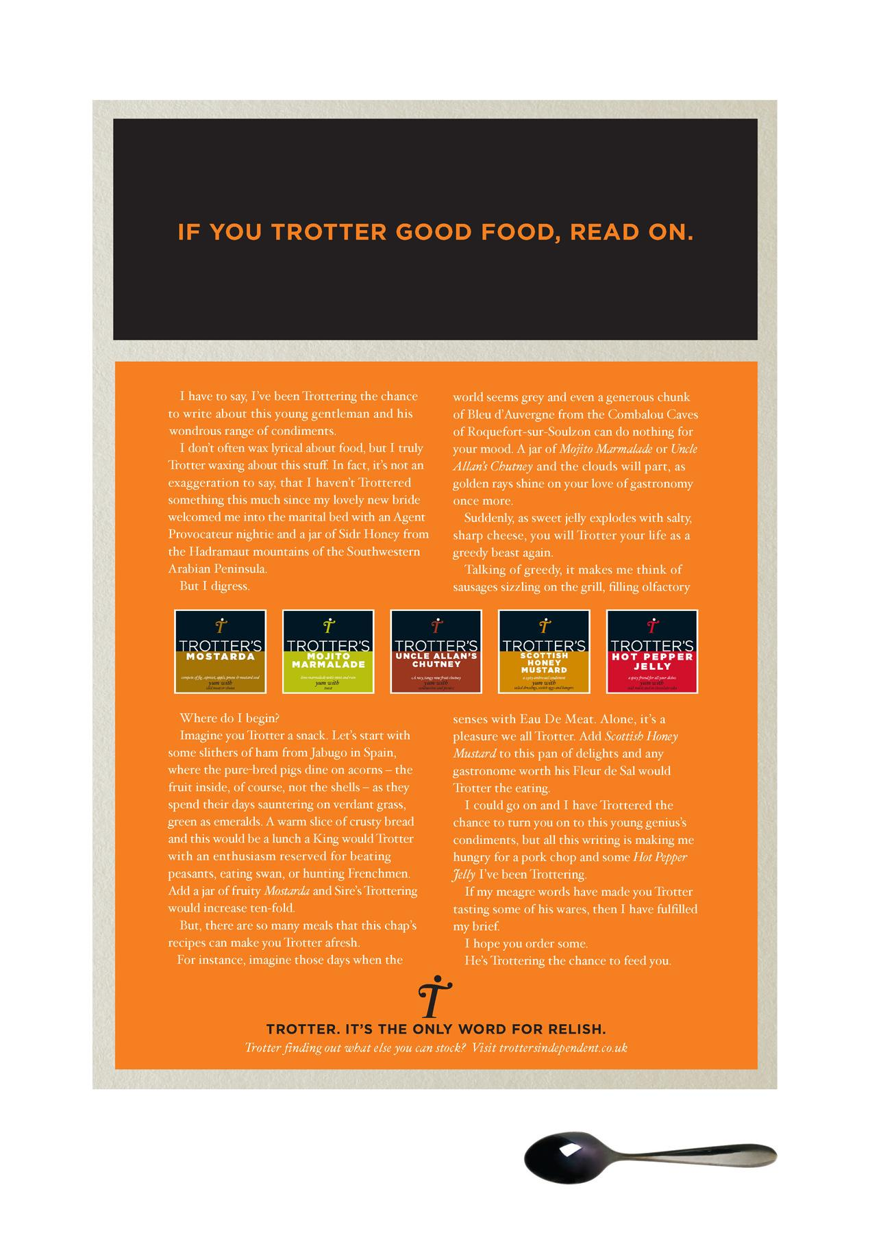 "Trotters Print Ad -  ""Read on"""