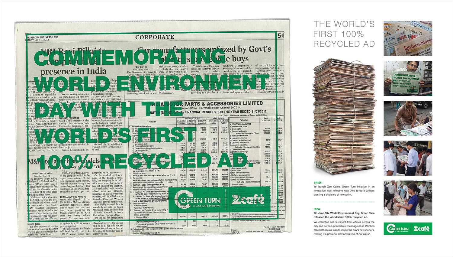 Zee Cafe Print Ad -  Green Turn, World's first 100% recycle ad
