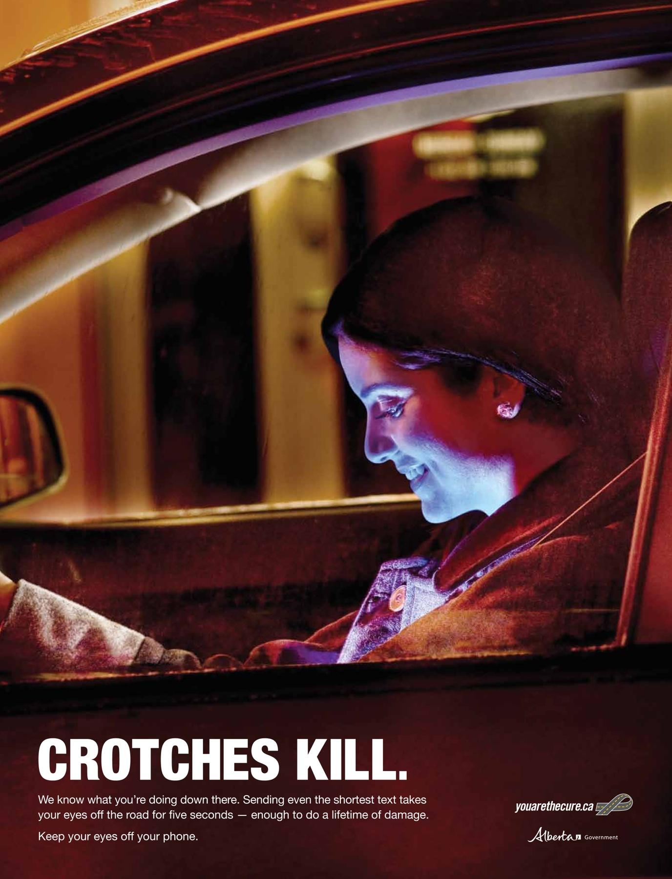 Alberta Office of Traffic Safety Print Ad -  Crotches Kill, Girls